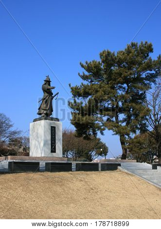 Jinju, South Korea - February 16, 2011 - Monument to General Kim Si-min (1554-1592). He is defended Jinju Castle against the Japanese invaders in February 16, 2011, Jinju, South Korea.