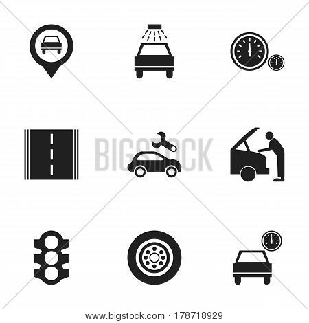 Set Of 9 Editable Car Icons. Includes Symbols Such As Stoplight, Car Fixing, Highway And More. Can Be Used For Web, Mobile, UI And Infographic Design.