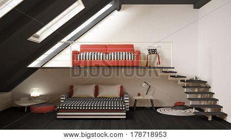 Loft Mezzanine One Room Minimalist Living And Bedroom, White And Red Scandinavian Interior Design