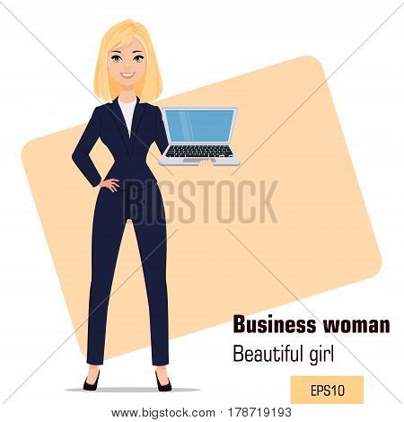 Young cartoon businesswoman standing. Beautiful blonde girl in office clothes holding laptop. Fashionable modern lady. Vector illustration. EPS10