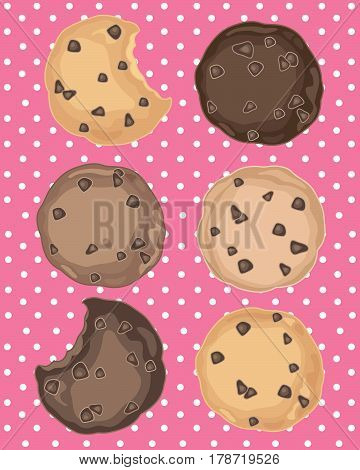 an illustration of six chocolate chip cookies in dark and light chocolate on a pink polka dot background