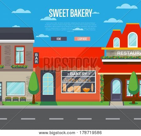 Sweet bakery shop in cityscape vector illustration. Cake shop, pastry store, dessert cafe, confectionery retail concept. Commercial building in front with showcase on street in flat design