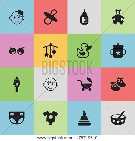 Set Of 16 Editable Baby Icons. Includes Symbols Such As Shoes For Babies, Nursing Bottle, Teddy And More. Can Be Used For Web, Mobile, UI And Infographic Design.
