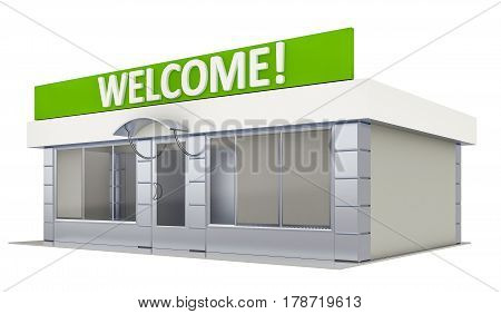 3D illustration of a store kiosk isolated on white
