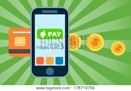 Global mobile money transfer concept vector illustration. NFC payment technology, online banking and shopping via smartphone app, world ecommerce. Mobile wallet for online transaction service banner