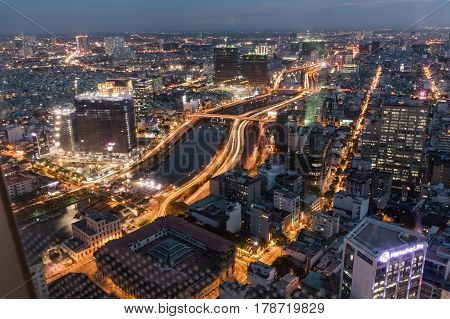SAIGON VIETNAM - March 27 2017. Cityscape of Saigon downtown viewed from top of building. Saigon (Ho Chi Minh city) is the largest city in Vietnam with population around 10 million people.
