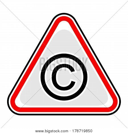 Use it in all your designs. Red and black triangular sticker with copyright sign. Triangle hazard warning danger symbol. Quick and easy recolorable vector illustration
