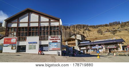 Pejo Fonti, Italy - March 10, 2017: Lower Cable Car Station On 1