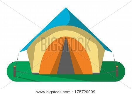 Tourist camp tent icon isolated on white background vector illustration. Campsite equipment in flat design. Hiking traveling, nature vacation concept.