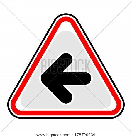 Use it in all your designs. Red and black triangular sticker with arrow left sign. Triangle hazard warning danger symbol. Quick and easy recolorable vector illustration