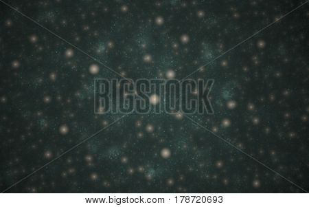 Abstract image of blurry beige points on a dark green blurred background similar to the cosmic galactic space