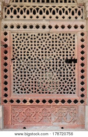 DELHI, INDIA - FEBRUARY 13 : Marble carved window at Isa Khan's Tomb. Humayun's Tomb complex, Delhi, India on February, 13, 2016