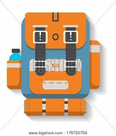 Turistic travel backpack icon vector illustration isolated on white background. Orange and blue camping backpack in flat design. Camp and hike bag and knapsack.