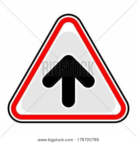 Use it in all your designs. Red and black triangular sticker with arrow upload sign. Triangle hazard warning danger symbol. Quick and easy recolorable vector illustration