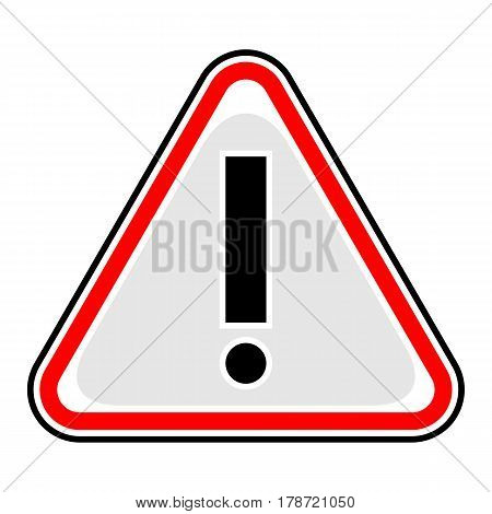 Use it in all your designs. Red attention sign triangular shape with exclamation mark point. Warning icon hazard sign in flat style. Quick and easy recolorable vector illustration