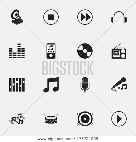 Set Of 16 Editable Multimedia Icons. Includes Symbols Such As Disc, Music Phone, Music And More. Can Be Used For Web, Mobile, UI And Infographic Design.