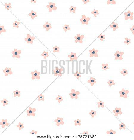 Cute seamless floral pattern.Pink flower on white background. Great for fabric textile wrapping.