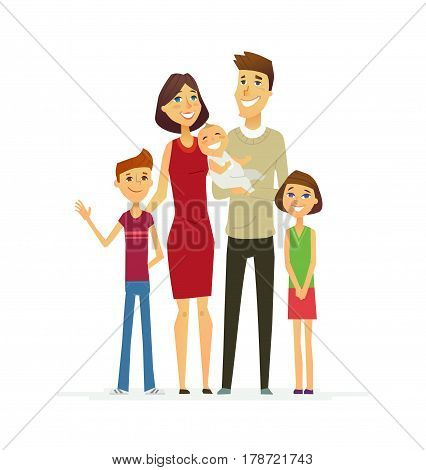 Family - coloured vector modern flat illustrative composition of cartoon characters. Father, mother, son, daughter, baby. United and happy.