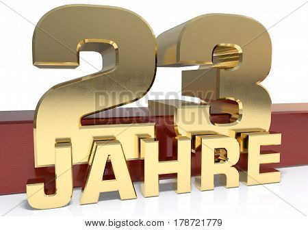 Golden digit twenty three and the word of the year. Translated from the German - years.3D illustration