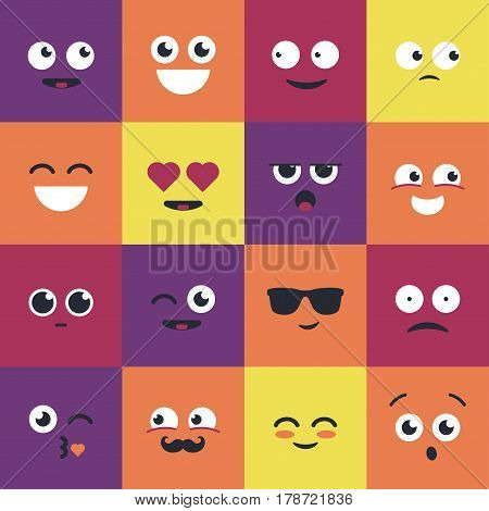 Smiley - modern vector set of emoji illustrations. Emoticons depicting curiosity, happiness, laughter, smile, attraction, love, giggle, coolness, kiss, surprise, blinking, boredom