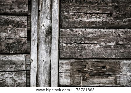 An obsolete vintage rough wooden planks texture