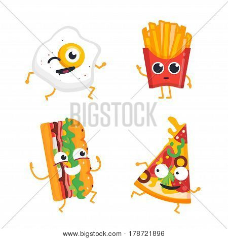 Fast Food Cartoon Characters - modern vector template set of mascot illustrations. Gift images of egg, french fries, pizza slice and burger dancing, smiling, having a good time