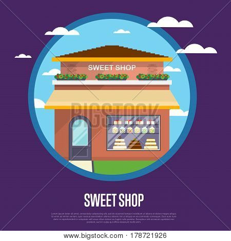 Sweet shop banner in flat design vector illustration. Candy bar, chocolate store, dessert cafe, confectionery retail concept. Commercial public building in front with signboard and showcase on street