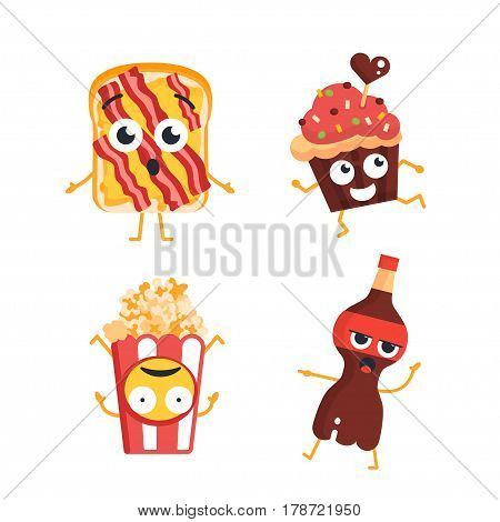 Fast Food Characters - modern vector template set of mascot illustrations. Gift images of bacon toast, cup cake, pop corn and bottle of coke dancing, smiling, having a good time