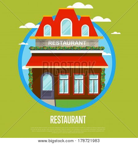 Facade of restaurant in flat design vector illustration. Street cafe, bistro, coffee house, fast food retail concept. Commercial public building in front with signboard and awning on street.