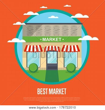 Best market banner in flat design vector illustration. Supermarket, mall, shopping center, food store, retail concept. Commercial public building in front with signboard and showcase on street