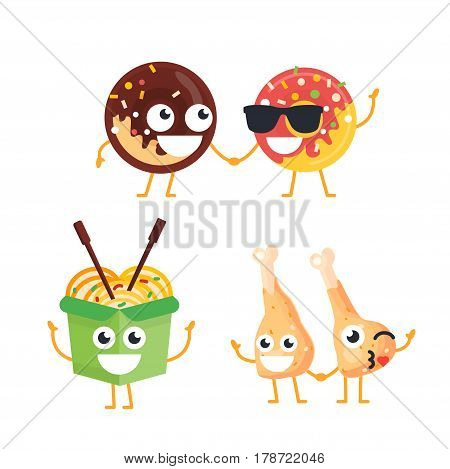 Fast Food Characters - modern vector template set of mascot illustrations. Gift images of donuts, wok, chicken legs standing, waving and smiling
