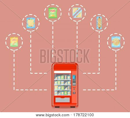 Automatic vending machine infographics vector illustration. Hot dog, sandwich, burger, chips packaging, snack, fast food retail. Automatic seller front view with full shelves advertisement poster.