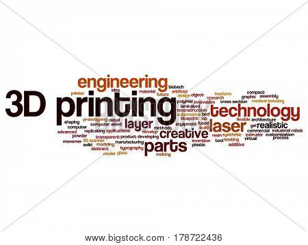 Concept or conceptual 3D printing creative laser technology abstract word cloud isolated on background