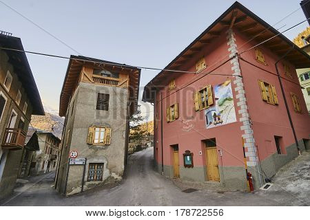Celledizzo, Italy - March 10, 2017: Center Of The Village On 10