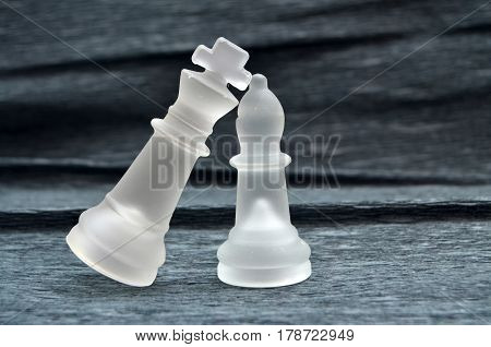 image of a Chess concept , strategy.glass chess pieces