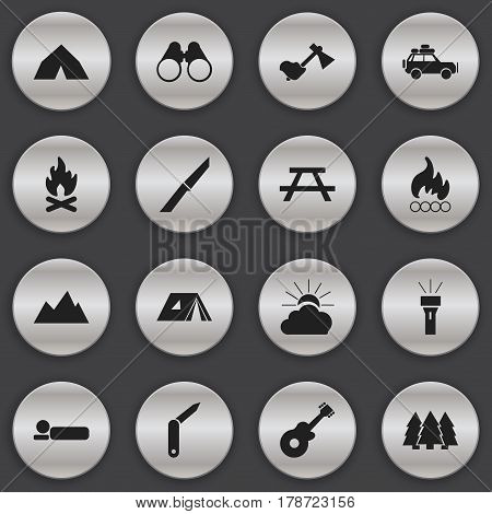 Set Of 16 Editable Camping Icons. Includes Symbols Such As Knife, Pine, Fever And More. Can Be Used For Web, Mobile, UI And Infographic Design.