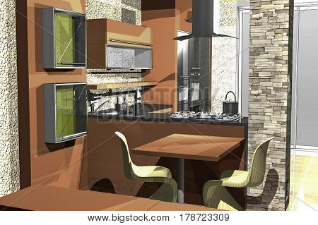 Modern living room with sofa and furniture 3D Rendering