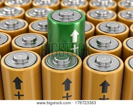 3D illustration. 3d image of Batteries background