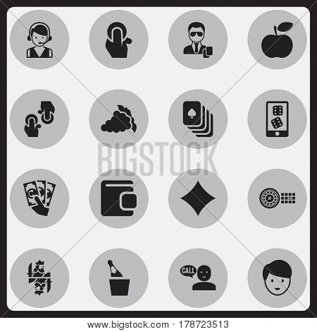 Set Of 16 Editable Casino Icons. Includes Symbols Such As Rhombus, Casino Worker, Exchange And More. Can Be Used For Web, Mobile, UI And Infographic Design.