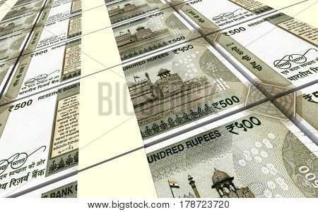 India Rupee bills stacks background. 3D illustration
