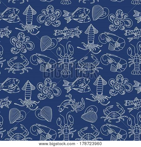 Marine life seamless vector pattern. Symbols of various seafood delicacies.