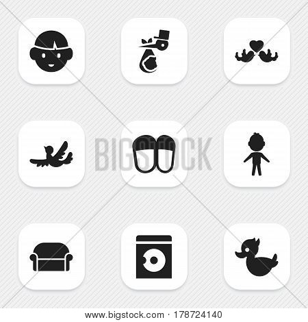 Set Of 9 Editable Family Icons. Includes Symbols Such As Boy, Bath Toys, Home Shoes And More. Can Be Used For Web, Mobile, UI And Infographic Design.