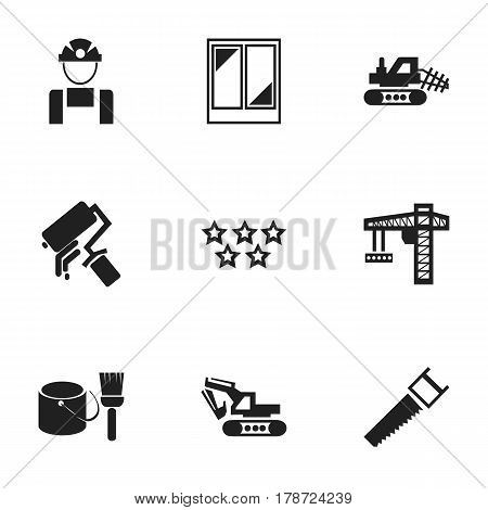 Set Of 9 Editable Construction Icons. Includes Symbols Such As Crane, Hacksaw, Mule And More. Can Be Used For Web, Mobile, UI And Infographic Design.