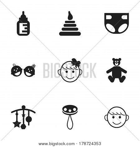 Set Of 9 Editable Child Icons. Includes Symbols Such As Rattle, Merry Children, Twins Babies And More. Can Be Used For Web, Mobile, UI And Infographic Design.