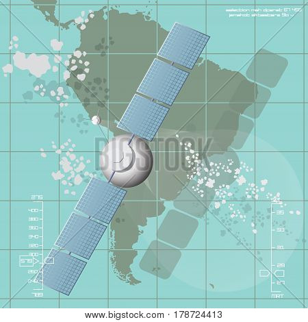 Vector illustration depicting a communications satellite over South America