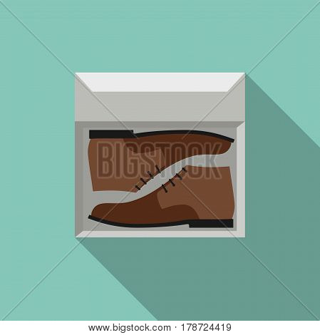 Brown shoes in box. Simple flat style vector illustration with boots.