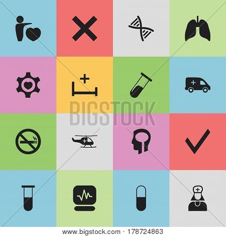Set Of 16 Editable Care Icons. Includes Symbols Such As Pulse, Medical Aviation, Intelligence And More. Can Be Used For Web, Mobile, UI And Infographic Design.