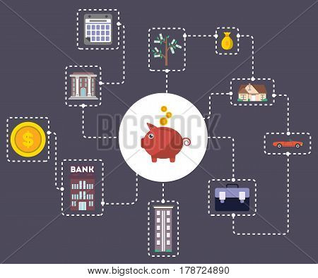 Investment in yourself concept with piggy bank vector illustration. Smart investment, finance and banking, career growth, securities and real estate, strategic management, financial planning