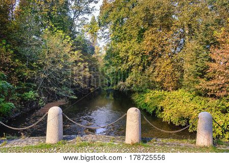 Monza (Brianza Lombardy Italy): the Lambro river in the park at fall (october)