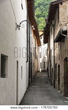 Typical street at Riva San Vitale (Ticino Switzerland) along the Lake of Lugano (Ceresio).